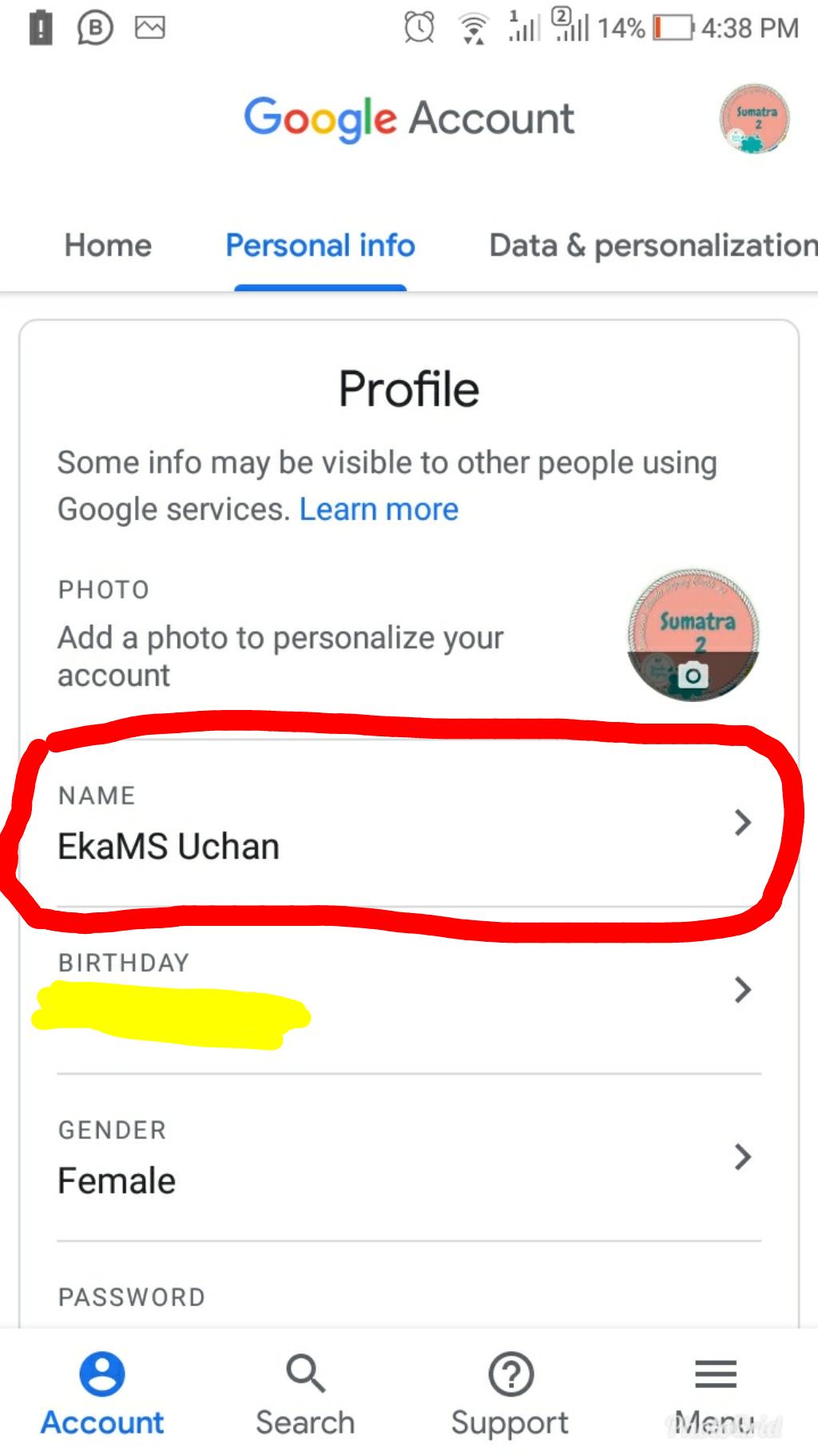 mengganti nama email melalui hp android